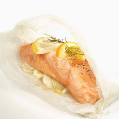 Mediterranean Salmon Cooked in Parchment