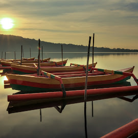The whole new day by Ade Irgha - Transportation Boats ( #lake, #sun, #hill, #water, #boat )