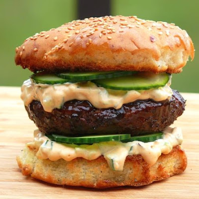 Hoisin Burger with Sriracha Relish