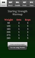 Screenshot of Starting Strength Warmup