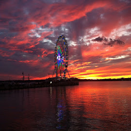National Harbor by Evylyn Quinones - Landscapes Sunsets & Sunrises ( water, iphoneography, rides, colors, sunset )