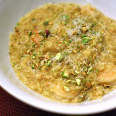 Saffron Risotto with Shrimp and Pistachios
