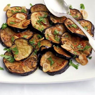 Aubergines With Garlic & Herb Dressing