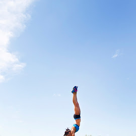 Skinny is the new strong by Linda Thach - Sports & Fitness Fitness ( body, fitness, strength, muscle, rock, beauty, powerful, handstand, sun, nature, strong, outdoor, shorts, hot, summer, legs, arms, tall )