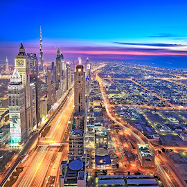 VELOCITY by Tara Gurung - City,  Street & Park  Skylines ( hdr, dubai, blue hour, cityscape, long exosure )