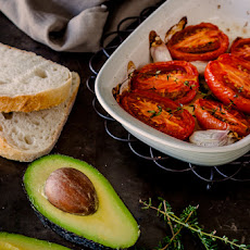 Slow Roasted Tomatoes With Avocado & Feta