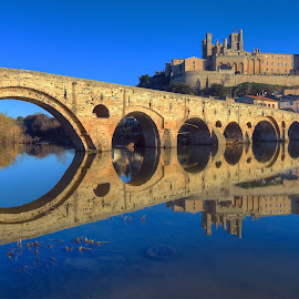 River Orb at Bezies by Paul Atkinson - Buildings & Architecture Bridges & Suspended Structures ( reflection, languedoc, winter, beziers, cathedral, france, bridge )