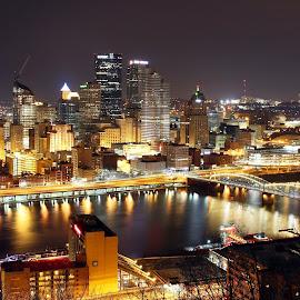 Pittsburgh, PA by Tony Bendele - City,  Street & Park  Skylines ( skyline, night, architecture, landscape, city )