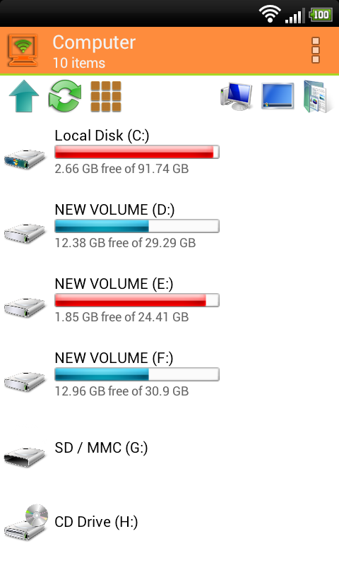 WiFi PC File Explorer Pro Screenshot