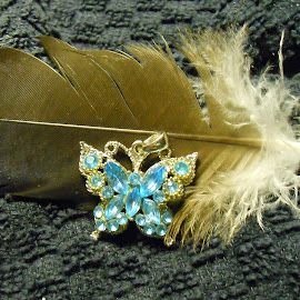 Butterfly Pendant and Feather by Darlene Pavek - Artistic Objects Jewelry ( butterfly, pendant, feather, object, artistic, jewelry )