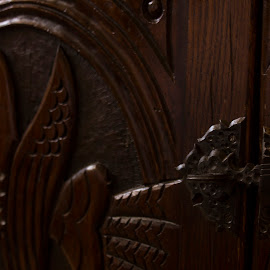 Credenza Door 2 by Hannah Maison - Artistic Objects Furniture ( wood, carving, credenza, door, iron,  )