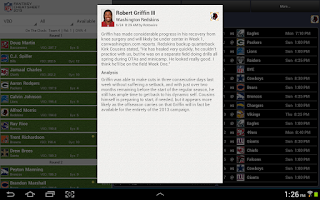 Screenshot of NFL Fantasy Cheat Sheet HD