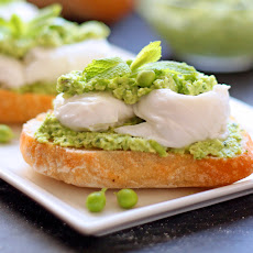 Smashed Peas and Fava Beans with Fresh Mozzarella