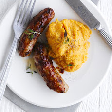 Peppery Sausages With Sweet Potato Mash