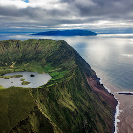 God's Creation by Samuk Domingues - Landscapes Travel ( clouds, corvo, mountain, sky, lake, azores, island )