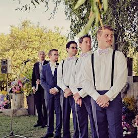 Anticipation by Alan Evans - Wedding Ceremony ( groomsmen, wedding photography, wedding day, wedding, aj photography, marriage, bright wedding photographer, groom, wedding ceremony )