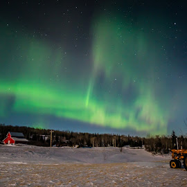 Winter Farm Aurora by David Johnson - Landscapes Weather ( winter, barn, northern lights, landscape, tractor )