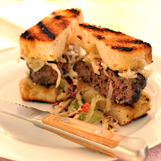 Lean Mushroom Steakhouse Burger with Blue Cheese Coleslaw