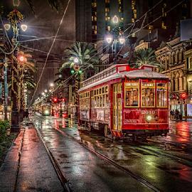 New Orleans Street Car 2 by Sheldon Anderson - City,  Street & Park  Street Scenes ( new orleans, night photography, louisiana, street car, reflections, rain )
