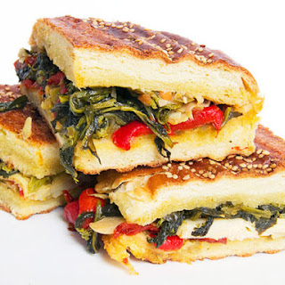 Broccoli Rabe and Antipasti Panini with Olive Salad