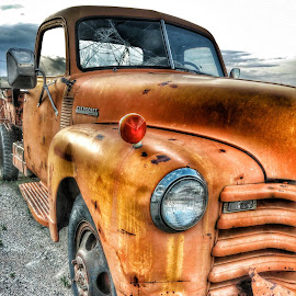 Old Orange Chevy by Nancy Young - Transportation Automobiles ( dillon, truck, montana, vehicle, nostalgia, transportation,  )