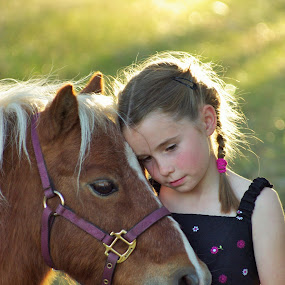 Buddies by Giselle Pierce - Babies & Children Children Candids ( miniature horse, child, little girl, girl, grass, dress, horse, kid )