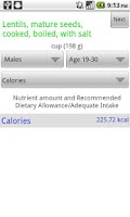 Screenshot of Nutrition Info App