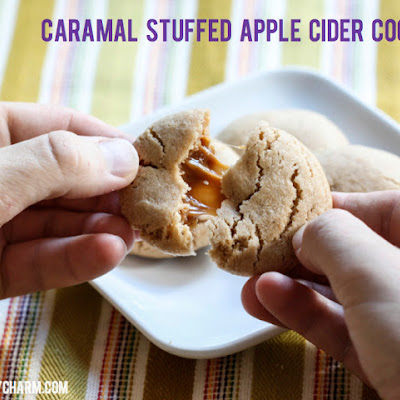 Caramel Stuffed Apple Cider Cookies // Fall Cookie Week