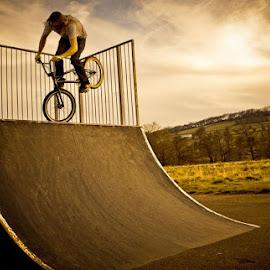 sunset bmx by Richard Burman - Sports & Fitness Cycling ( sunset, action, sports, dramatic, bmx, sport, man )