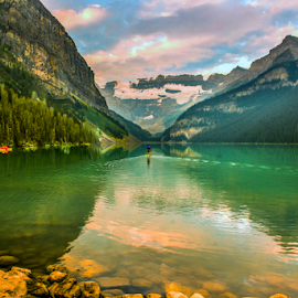 Lake Louise by Joseph Law - Landscapes Waterscapes ( glacier, lake louise, national park, boats, rocky mountains, reflections, rocks, banff )