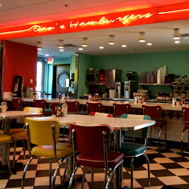 Hamburger Heaven by Jane Jenkins - Buildings & Architecture Other Interior ( hamburger restaurtant, french fries, 50s theme, fast food, hamburger joint, photo stream, step back in time, blue, orange. color )