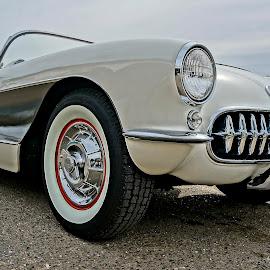 Corvette of the 60's by Barbara Brock - Transportation Automobiles ( white corvette, classic car, corvette, sports car, vintage car )