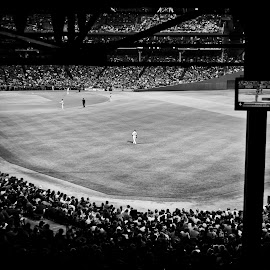 Fenway by night in Black and White by Alan Scherer - Sports & Fitness Baseball ( boston, baseball, fenway park, mlb, boston red sox )
