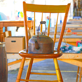 Kettle in the Chair by Elaine Brixhoff - Artistic Objects Antiques ( chair, old things, kettle, collectibles, flea market )