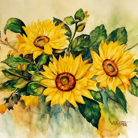 Sun flowers by Vandana Malhotra - Painting All Painting ( hope )