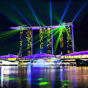 Marina Bay Nightly Laser Show by Alan Chew - Buildings & Architecture Office Buildings & Hotels ( , city, night, Lighting, moods, mood lighting )