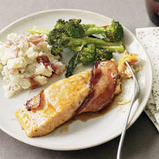 Bacon-Wrapped Salmon with Broccoli and Mashed Potatoes