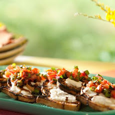 Crostini with Mascarpone, Grilled Scallion, Tomato and Balsamic Glaze