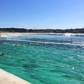 Pool And The Ocean by Kamila Romanowska - Instagram & Mobile iPhone ( water, pool, australia, summer, ocean, sydney )