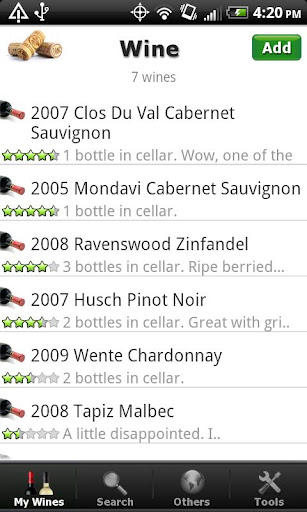 Wine + List Ratings Cellar