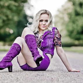 Purple Boots by Alan Wilson - Novices Only Portraits & People ( blonde, purple, teenager, denim, 70's, bokeh )