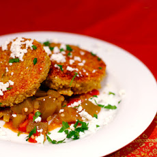 Quinoa Cakes with Eggplant-Tomato Ragu and Goat Cheese