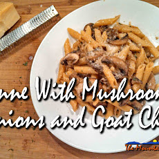 Penne With Portobello Mushrooms, Caramelized Onions and Goat Cheese
