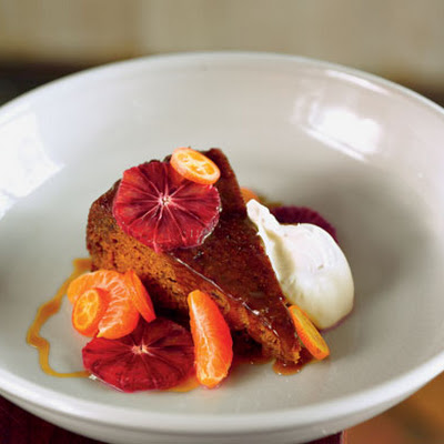 Sticky Toffee Pudding with Blood Orange, Tangerine, and Whipped Crème Fraîche