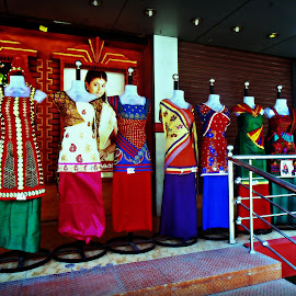 Mannequin Parade 2 by Tamsin Carlisle - City,  Street & Park  Markets & Shops ( mannequins, shops, clothing, clothes, street, india, kerala, display, shopping, fabric, posters )
