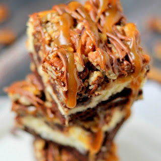Turtle Cheesecake Brownie Bars