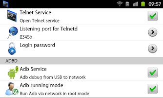 Screenshot of Telnet Server & Network adbd