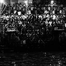 Monochrome Humans by Rohan Gupta - People Street & Candids ( water, monochrome, black and white, varanasi, night, humans, people,  )