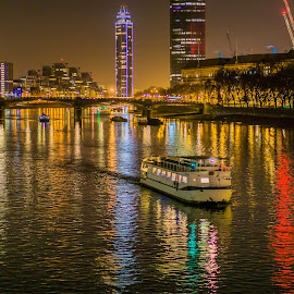 Thames River by night  by Dimitar Hristov  - City,  Street & Park  Night ( london, night photography, thames, boat, river )