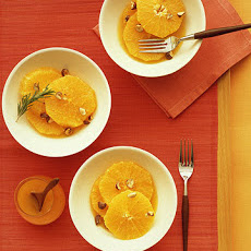 Sliced Oranges with Orange-Flower Syrup and Candied Hazelnuts